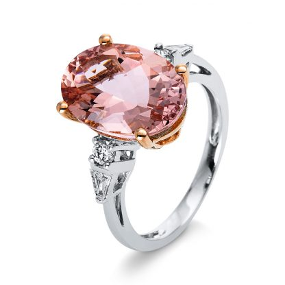 14 kt  color stone with 4 diamonds