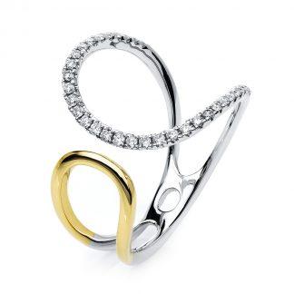 14 kt fehérarany / sárga arany több köves gyűrű 33 gyémánttal 1E742WG456-1