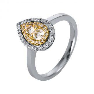 14 kt fehérarany / sárga arany több köves gyűrű 55 gyémánttal 1P899WG453-1