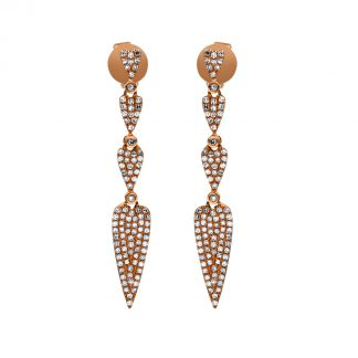 14 kt red gold earrings with 200 diamonds 2F187R4-1