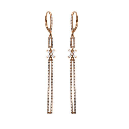 14 kt red gold earrings with 208 diamonds 2F195R4-1