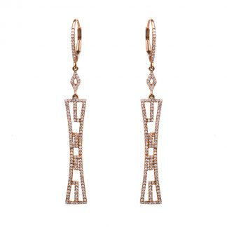 14 kt red gold earrings with 274 diamonds 2D448R4-2