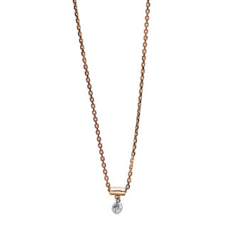 14 kt red gold necklace with 1 diamond 4B205R4-1