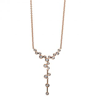 14 kt red gold necklace with 18 diamonds 4D038R4-2