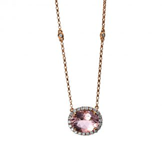 14 kt red gold necklace with 24 diamonds