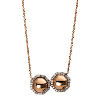 14 kt red gold necklace with 48 diamonds 4E115R4-1