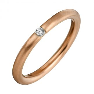 14 kt red gold solitaire with 1 diamond 1A041R455-1
