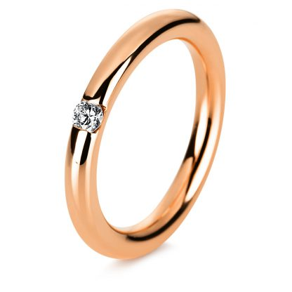 14 kt red gold solitaire with 1 diamond 1A043R451-1