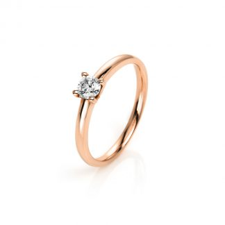 14 kt red gold solitaire with 1 diamond 1A252R454-1