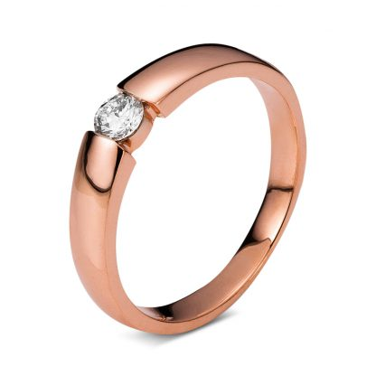 14 kt red gold solitaire with 1 diamond 1A356R452-1
