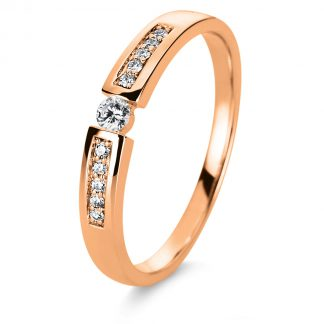14 kt red gold solitaire with side stones with 11 diamonds 1A401R454-1