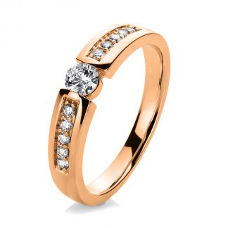 14 kt red gold solitaire with side stones with 11 diamonds 1A405R454-1