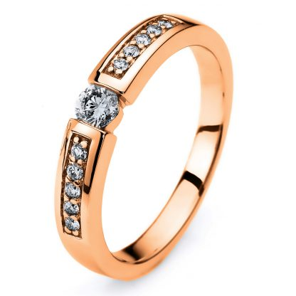 14 kt red gold solitaire with side stones with 11 diamonds 1A406R452-1