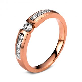 14 kt red gold solitaire with side stones with 11 diamonds 1A407R452-1