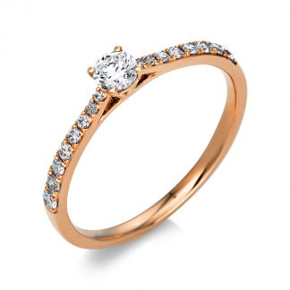 14 kt red gold solitaire with side stones with 17 diamonds 1A424R454-1