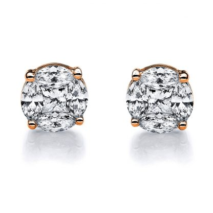 14 kt red gold studs with 10 diamonds 2B528R4-1