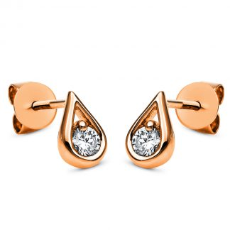 14 kt red gold studs with 2 diamonds 2H181R4-1