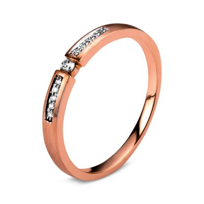 14 kt red gold / white gold solitaire with side stones with 11 diamonds 1A398RW454-1