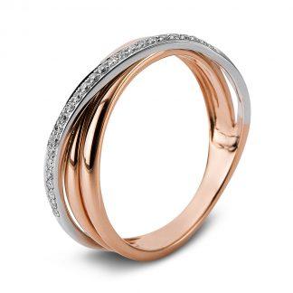 14 kt vörös arany / fehérarany több köves gyűrű 26 gyémánttal 1C680RW455-1