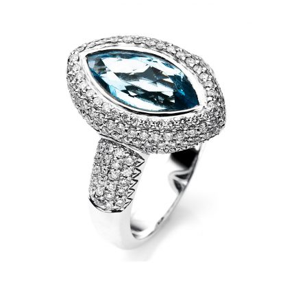 14 kt white gold color stone with 150 diamonds