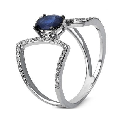 14 kt white gold color stone with 58 diamonds