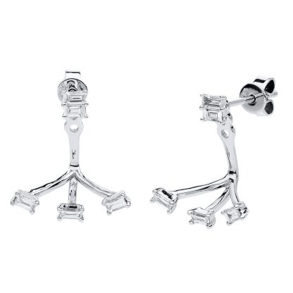 14 kt white gold earrings with 10 diamonds 2C002W4-1