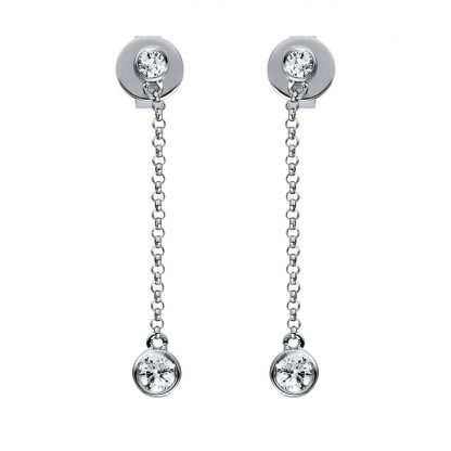 14 kt white gold earrings with 4 diamonds 2G810W4-1