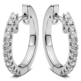 14 kt white gold hoops & huggies with 22 diamonds 2A036W4-2