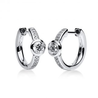 14 kt white gold hoops & huggies with 22 diamonds 2B651W4-2