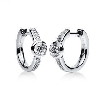 14 kt white gold hoops & huggies with 22 diamonds 2B651W4-2
