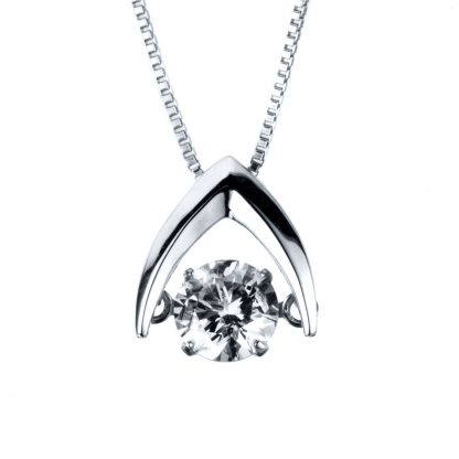 14 kt white gold necklace with 1 diamond 4A090W4-1