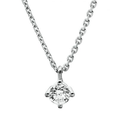 14 kt white gold necklace with 1 diamond 4A308W4-3