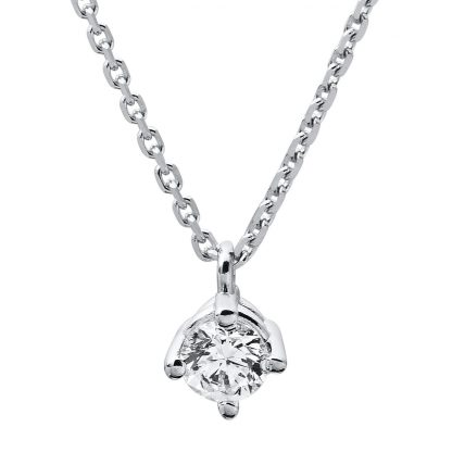 14 kt white gold necklace with 1 diamond 4A309W4-6
