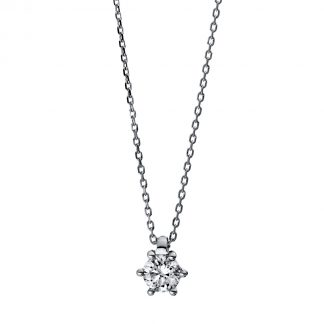 14 kt white gold necklace with 1 diamond 4D280W4-6