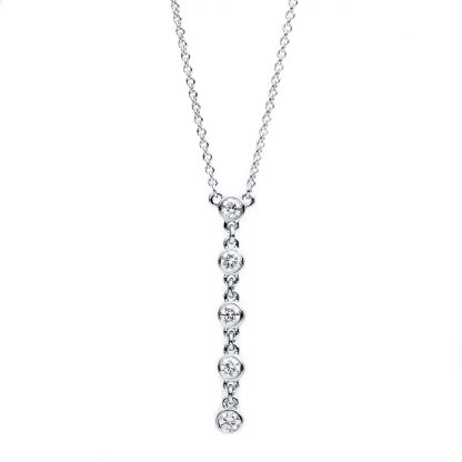 14 kt white gold necklace with 5 diamonds 4B337W4-2