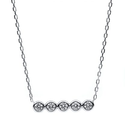 14 kt white gold necklace with 5 diamonds 4B530W4-1