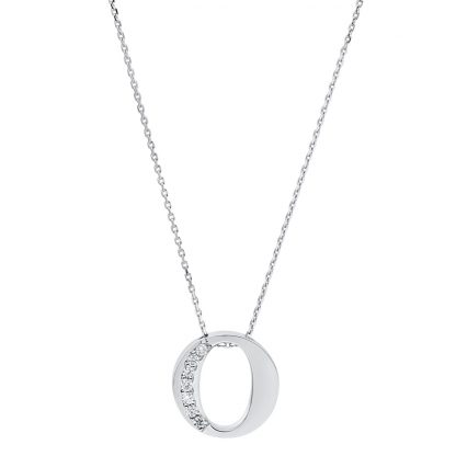 14 kt white gold necklace with 7 diamonds 4A442W4-1