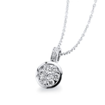 14 kt white gold necklace with 9 diamonds 4A555W4-1