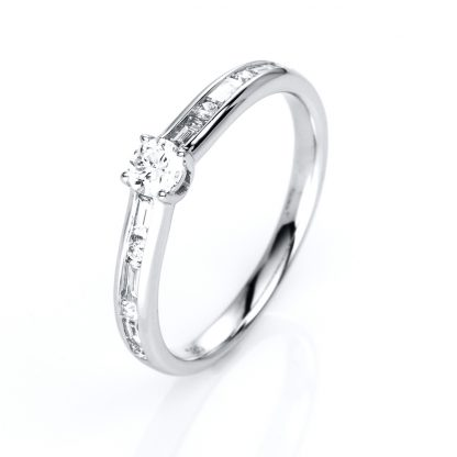 14 kt white gold solitaire with side stones with 13 diamonds 1C521W454-1