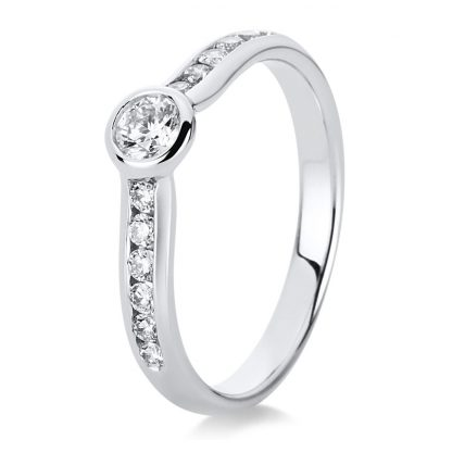 14 kt white gold solitaire with side stones with 13 diamonds 1C524W454-1