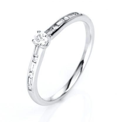 14 kt white gold solitaire with side stones with 13 diamonds 1C855W454-10