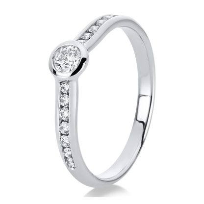 14 kt white gold solitaire with side stones with 15 diamonds 1C523W454-2