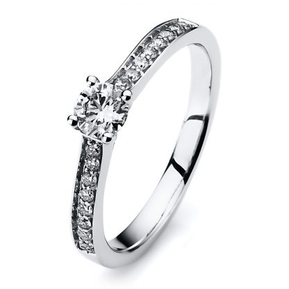 14 kt white gold solitaire with side stones with 17 diamonds 1A195W453-2