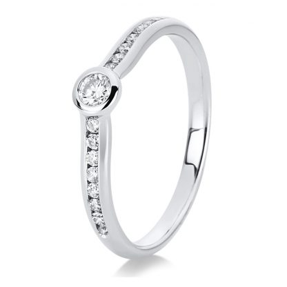 14 kt white gold solitaire with side stones with 17 diamonds 1C522W454-1