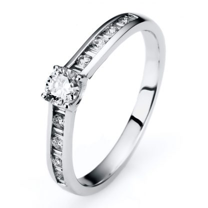 14 kt white gold solitaire with side stones with 19 diamonds 1A309W453-1