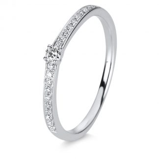 14 kt white gold solitaire with side stones with 21 diamonds 1C868W452-1
