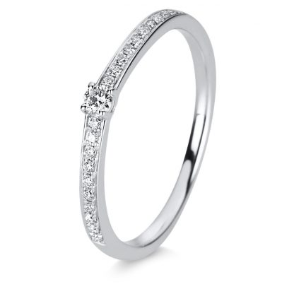 14 kt white gold solitaire with side stones with 21 diamonds 1C868W456-2