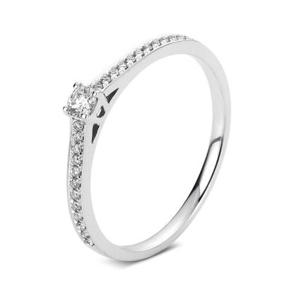 14 kt white gold solitaire with side stones with 25 diamonds 1A325W456-1