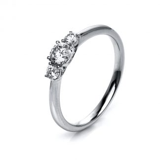 14 kt white gold solitaire with side stones with 3 diamonds 1K432W455-1
