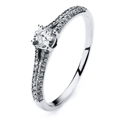 14 kt white gold solitaire with side stones with 45 diamonds 1A310W454-1